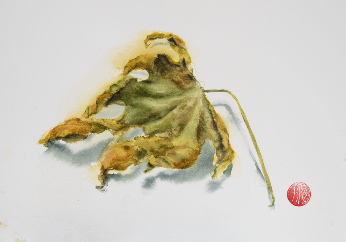watercolour, watercolour, krsmith_artist, botanical_watercolour, rusting_leaf