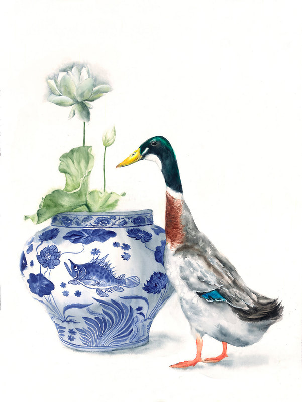 Runner_duck, lotus, ginger_jar, watercolour, watercolour, krsmith_artist, still_life